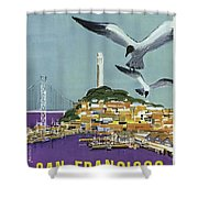 San Francisco American Airlines Shower Curtain