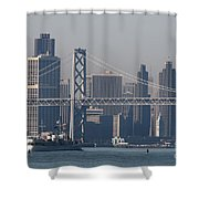 San Francisco Past The Bay Bridge Shower Curtain