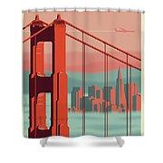 San Francisco Poster - Vintage Travel Shower Curtain