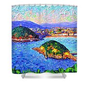 San Sebastian Spain Modern Impressionism Textural Impasto Knife Oil Painting By Ana Maria Edulescu Shower Curtain