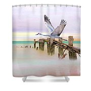 Sandhill Crane And Old Dock Shower Curtain