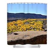 Sandstone Above Golden River Desert Landscape Shower Curtain