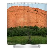 Sandstone Rock Formation Called The Kissing Camels In Colorado Shower Curtain by Kyle Lee