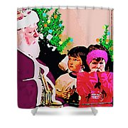 Santa And The Kids Shower Curtain