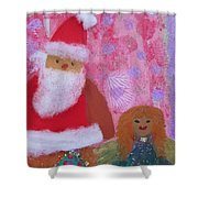 Santa Claus And Guardian Angel - Pintoresco Art By Sylvia Shower Curtain