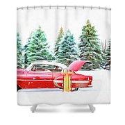 Santa's Other Sleigh Shower Curtain