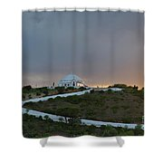 Santuario De Nossa Senhora Da Piedade Welcoming Twilight In Loule Shower Curtain