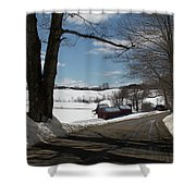 Sap Buckets Ready At The Jenne Farm Shower Curtain by Jeff Folger