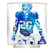 Saquon Barkley New York Giants Water Color Pixel Art 11 Shower Curtain