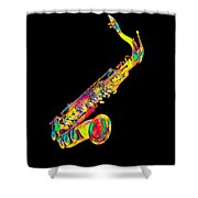 Saxophone Music Instrument Gift For Musician Color Designed Shower Curtain