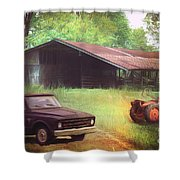Scenes From The Past - Trucks And Tractors Shower Curtain