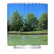 Scenic View Of Burgundy Canal Shower Curtain