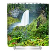 Scenic View Of Waterfall, Portland Shower Curtain