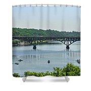 Schuylkill River View - Strawberry Mansion Bridge Shower Curtain