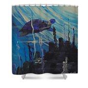 Sea Turtle Shower Curtain by Saundra Johnson