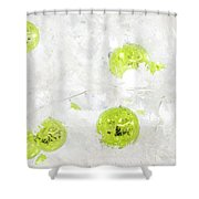 Seasons Greetings - Frosty White With Chartreuse Accents Shower Curtain