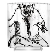 Seated Man Portrait Shower Curtain