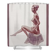Seated Nude Woman Watercolor Shower Curtain