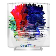 Seattle Skyline Brush Stroke Watercolor   Shower Curtain
