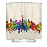 Seattle Skyline Watercolor Shower Curtain