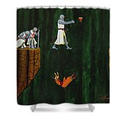 Securing The Holy Grail Shower Curtain