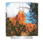 Sedona Adobe Jack Trail Blue Sky Clouds Trees Red Rock 5130 Shower Curtain