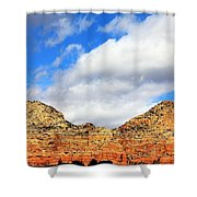 Sedona Jack's Trail Blue Sky, Clouds Red Rock Hills 5032 3 Shower Curtain