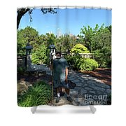 Self Portrait 20 - Aligned With A Half Moon Over Downtown Austin At Zilker Botanical Garden Shower Curtain