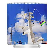 Semi-large Ship's Radar Tower And Headlights. Shower Curtain