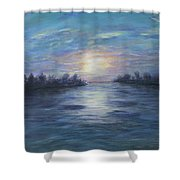 Serene River Sunset Shower Curtain