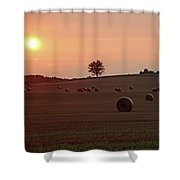 Setting Sun And Hay Bales Shower Curtain