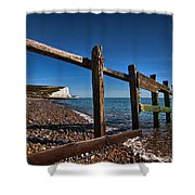 Seven Sisters Through Sea Defences Shower Curtain