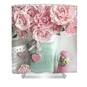 Shabby Chic Pink Roses In Aqua Mason Jar Romantic Cottage Floral Print Home Decor Shower Curtain