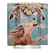 Shaman Mask And Wolf Shower Curtain
