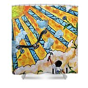 Shattered Skies Shower Curtain