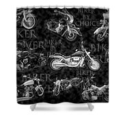 Shiny Bikes Galore In Black And White Shower Curtain