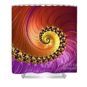Shiny Purple And Gold Spiral Shower Curtain