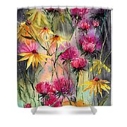 Shiny Rudbeckia And Thistle Shower Curtain