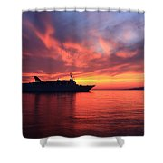 Ship At Mykonos Bay Mykonos Cyclades Greece  Shower Curtain