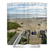 Shoreline Staircase By Uscg Station Chatham Cape Cod Massachusetts Shower Curtain