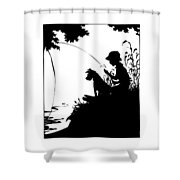Silhouette Of A Boy Fishing With His Dog Shower Curtain by Rose Santuci-Sofranko