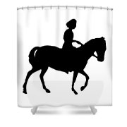 Silhouette Of A Woman On Horseback Shower Curtain by Rose Santuci-Sofranko