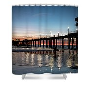 Silhouette Of Surfer At Huntington Shower Curtain