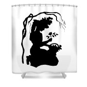 Silhouette Woman Picking Roses Shower Curtain by Rose Santuci-Sofranko