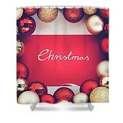 Silver Christmas Writing And Christmas Glass Balls. Shower Curtain