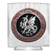 Silver Winged Norse Dragon - Icelandic Viking Landvaettir On Black And Silver Medallion Over White L Shower Curtain