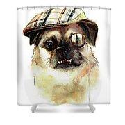 Sir Monocle Floof Du Underbite Shower Curtain