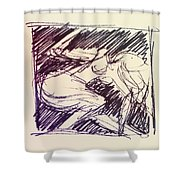 Sketch Of Woman Shower Curtain