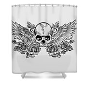 Skull And Wings Shower Curtain