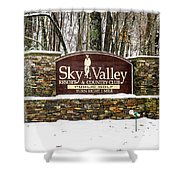 Sky Valley Georgia Welcome Sign In The Snow Shower Curtain